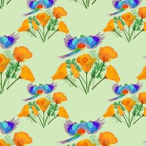 Poppy Field Flyover (birds fly one way) - mint green, medium