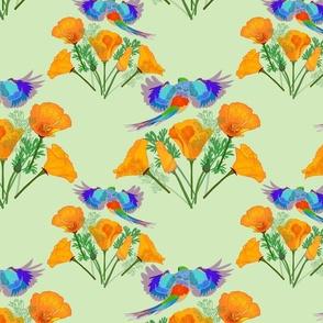 Poppy Field Flyover (birds fly both ways) - mint green, medium