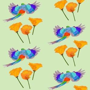 Poppy Field on the Wing - mint green, medium