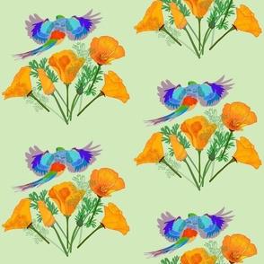 Poppy Field Flight - mint green, medium