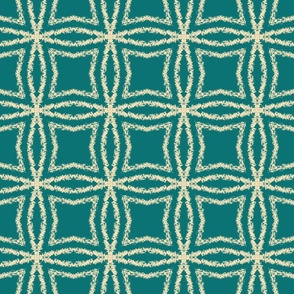 Cream brushstroke geometric circle grid on teal