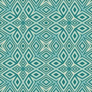 Funky retro geometric diamonds  in teal, turquoise, and cream