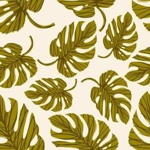 Monstera Leaves ~ Gold/Green