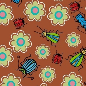Beetles and flowers brown bkg - large