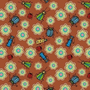 Beetles and flowers brown bkg - small