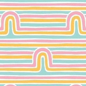 Small Retro Rainbow Striped Arches Hand drawn Lines