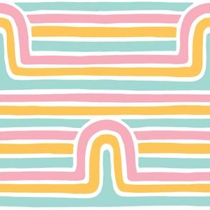 XXL Retro Rainbow Striped Arches Hand drawn Lines