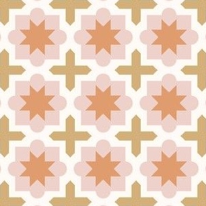 Moroccan Tiles - pink and gold