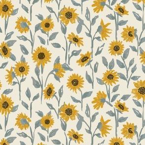 Sunflower Field Golden Yellow on Cream