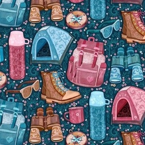 Camp Whimsy in Pink, Tan and Blue - small