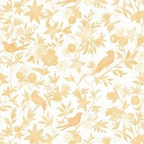 Forest Garden - Summer Sunset | Watercolor fabric, forest birds fabric, gold sunset, evening fabric, yellow bird print, golden yellow, sunny watercolor painting.