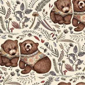 Whimsical Bear Pair with Fantasy Flora - neutral earth tones