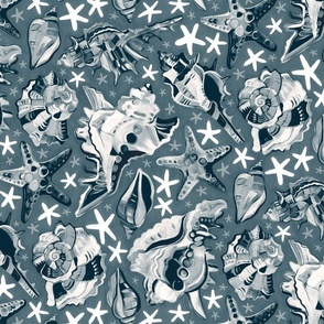 Fauvist-style Scattered Seashells in Monochrome Blue Grey - large