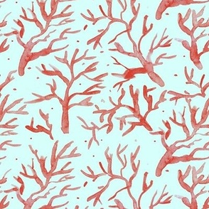 Capri island corals - watercolor underwater - summer beach holiday vibes a369-6
