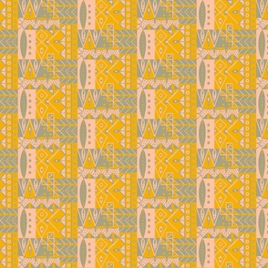 Geometric Eden small, Day Lily, gray and pink medium