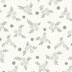 Lena  Floral Ditsy: Sage Green Cottage Floral Toss