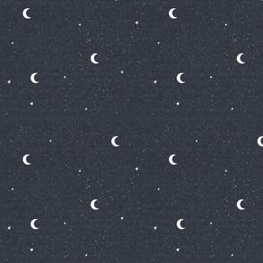 Night Sky Moons and Stars - Navy