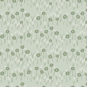 Lois Floral: Sage Green Meadow Flowers, Cottage Small Print