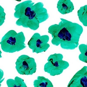 Large scale buttercup flowers sweet blossom garden retro scandinavian style painted freehand organic shapes green apple eclectic blue on white