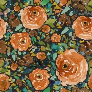 "8"" Copper Roses Dark Brown Back"