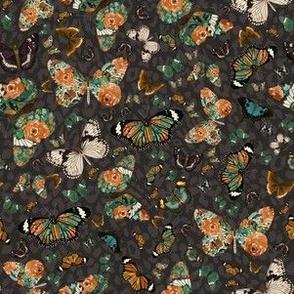"6"" Floral Butterflies Brown Cheetah Print Back"
