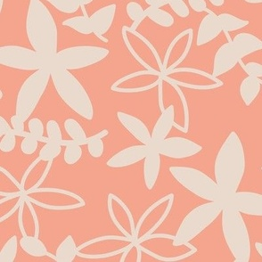 The minimal tropical leaves and flower blossom garden silhouettes summer design peach apricot blush beige