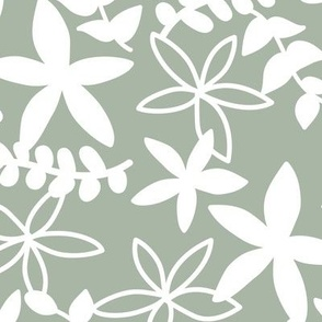 The minimal tropical leaves and flower blossom garden silhouettes summer design white on sage green