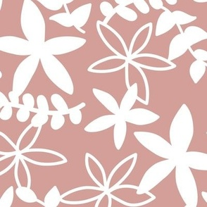 The minimal tropical leaves and flower blossom garden silhouettes summer design white on rose pink