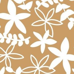 The minimal tropical leaves and flower blossom garden silhouettes summer design white on caramel ochre honey yellow