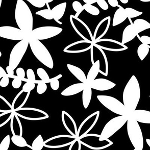 The minimal tropical leaves and flower blossom garden silhouettes summer design black and white monochrome
