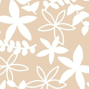 The minimal tropical leaves and flower blossom garden silhouettes summer design white on sand camel