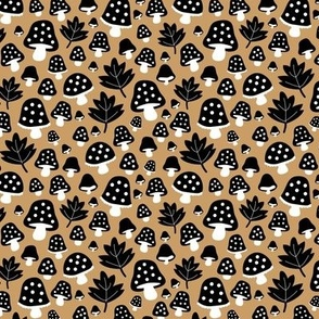 Little fall Scandinavian garden toadstool and leaves sweet romantic fairy forest autumn design black and white on caramel brown