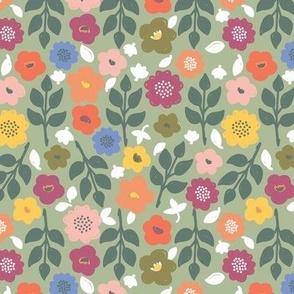 Autumn Freyja Floral Soft Green (Midi Scale)