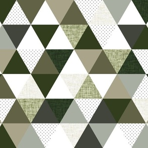 """2"""" triangles: seaweed, latte, sage, forest, olive"""
