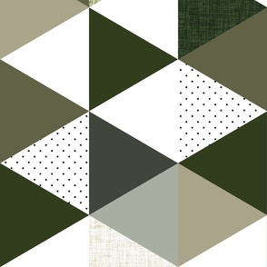 """rotated 6"""" triangle wholecloth: seaweed, latte, sage, forest, olive"""