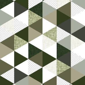 """rotated 2"""" triangles: seaweed, latte, sage, forest, olive"""