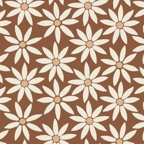 Sunflower Tiles on Mahogany Brown