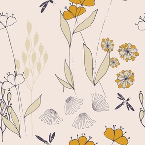 Poppy And Dragonfly - Soft Pink and Gold.
