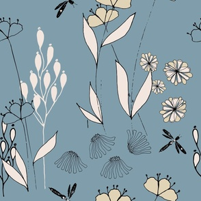 Poppies And Dragonflies - Blue and Neutral.