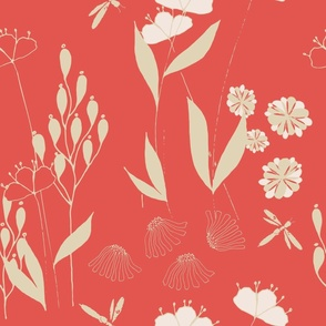 Poppies And Dragonflies - Red and Neutral.
