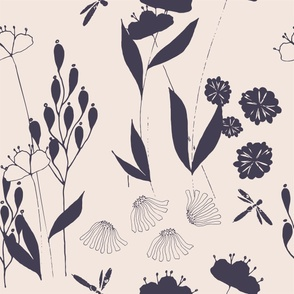 Poppies And Dragonflies And Daisies - Dark Purple.