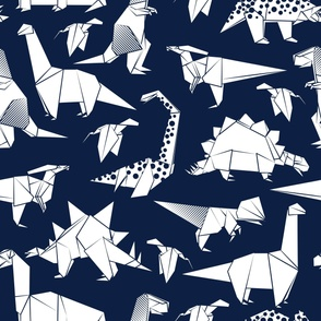 Large jumbo scale // Origami dino friends // oxford blue background white paper dinosaurs
