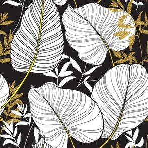 Leaves gold black