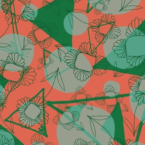 Vintage_Green_orange_Abstract_Shapes