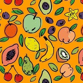 Fruit doodle - Light Orange