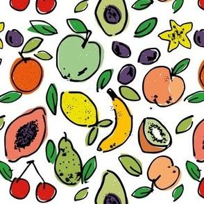 Fruit Doodle - white
