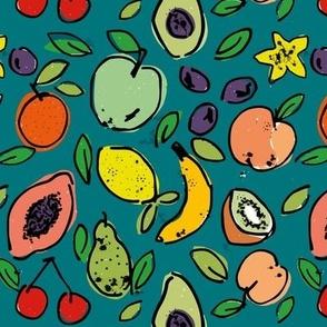 Fruit Doodle Print - Peacock Green