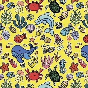Under the sea creatures - sunshine yellow