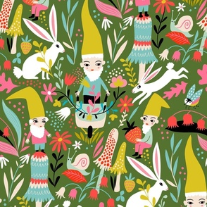 gnomes and rabbits in the forest // large scale