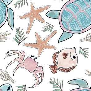 Ocean Life Blush Teal
